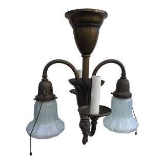 Vintage Four Light Brass Gas-Electric Ceiling Fixture For Sale
