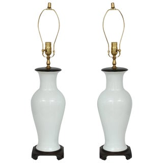 Blanc De Chine Vase-Form Table Lamps, Hong Kong, 1960s - a Pair For Sale