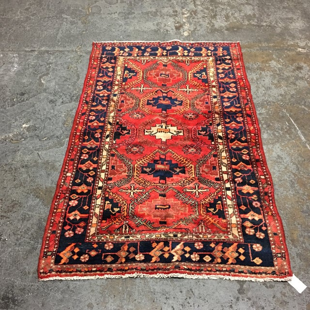 Design Plus Gallery presents 100% wool Iranian rug. This rug was woven with bold bright colors. The central pattern is...