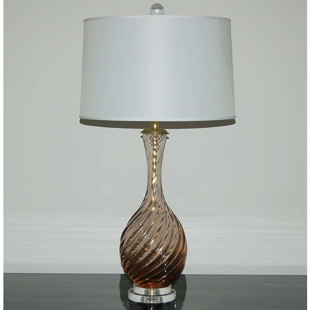Hollywood Regency Marbro Murano Glass Table Lamps in Peach Tea For Sale - Image 3 of 10
