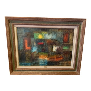 Original Abstract Painting of Boat For Sale