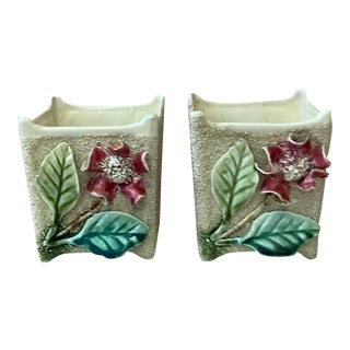 19th Century French Majolica Floral Jardinières-a Pair For Sale