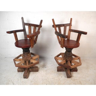 Pair of Rustic Midcentury Live Edge Swivel Bar Stools Preview