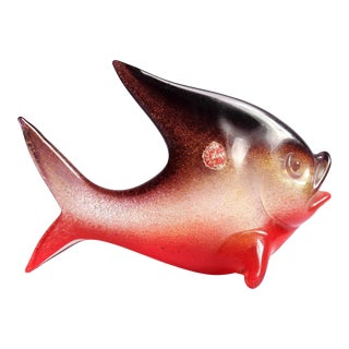 Archimede Seguso Murano Red Purple Gold Flecks Italian Art Glass Fish Sculpture For Sale