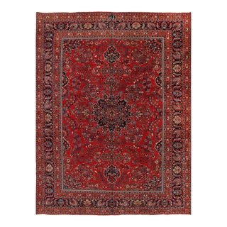 Rust Persian Semi Antique Hand Knotted Fine Kashan 9'11'' X 13'2'' For Sale