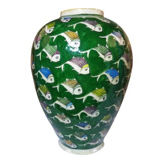 1960s Persian Green Ceramic Fish Vase For Sale