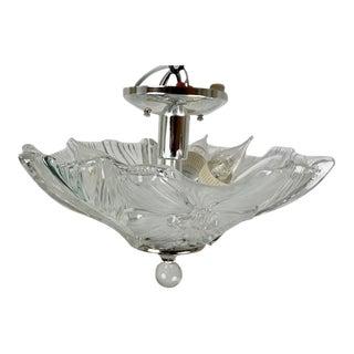 Glass Flower 3 Light Flush Mount For Sale
