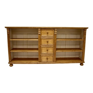 Country Pine Bookcase or Television Console With Four Drawers For Sale