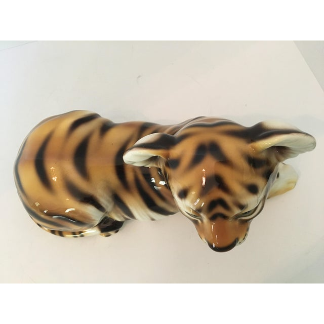 Mid 20th Century Large Scale Mid Century Italian Hand Painted Majolica Resting Tiger For Sale - Image 5 of 13