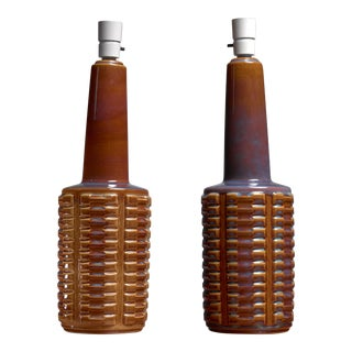 Pair of brown ceramic table lamps by Soholm, Denmark, 1960s For Sale
