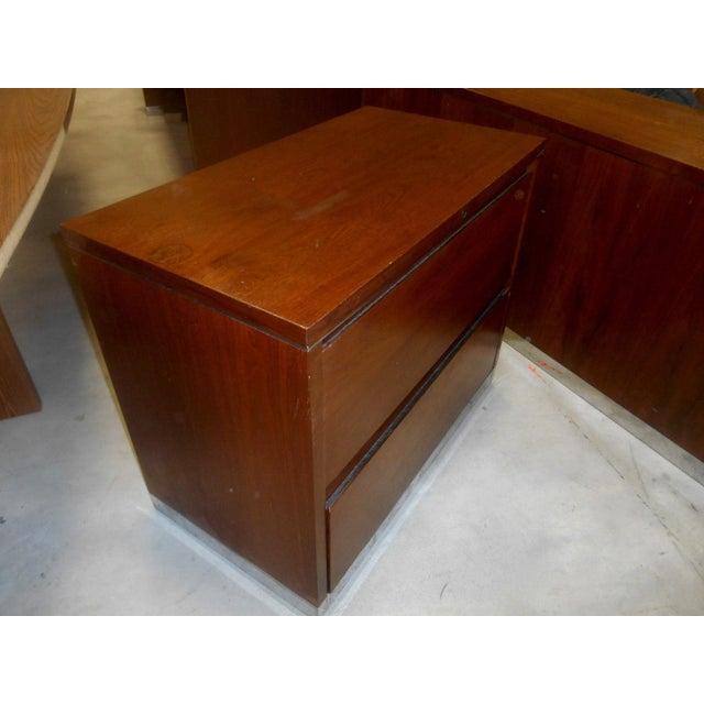 Very Nice Mid-Century Modern Walnut & Chrome 2 drawer filing chest by SPC Ann Arbor USA. Milo Baughman Style. This filing...