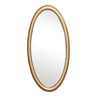 1930s Swedish Oval Gold and Ivory Mirror For Sale