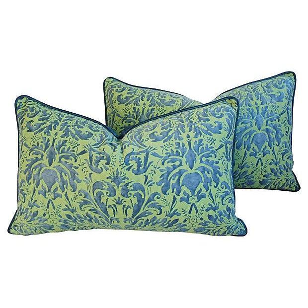 Fortuny Sevres Silk & Velvet Pillows - A Pair - Image 2 of 7