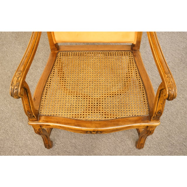Late 20th Century Hekman Furniture Rustic Country Cane Seat Armchair For Sale - Image 5 of 10