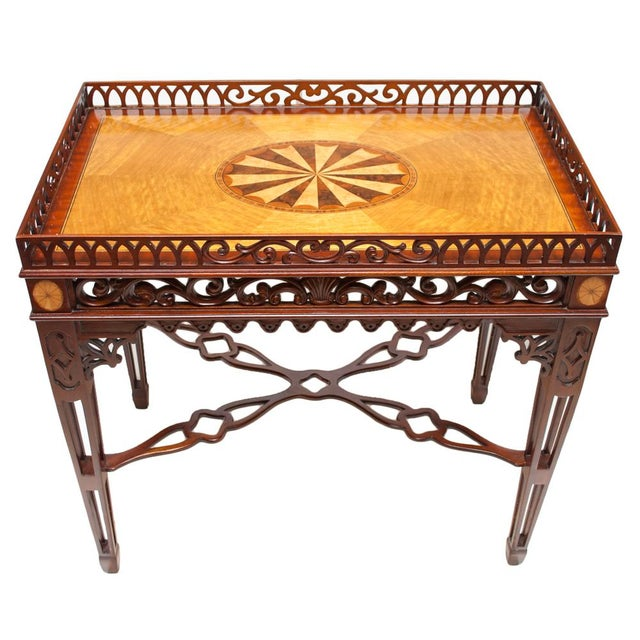 1980s Maitland Smith Chippendale Mahogany Tea Table For Sale - Image 13 of 13