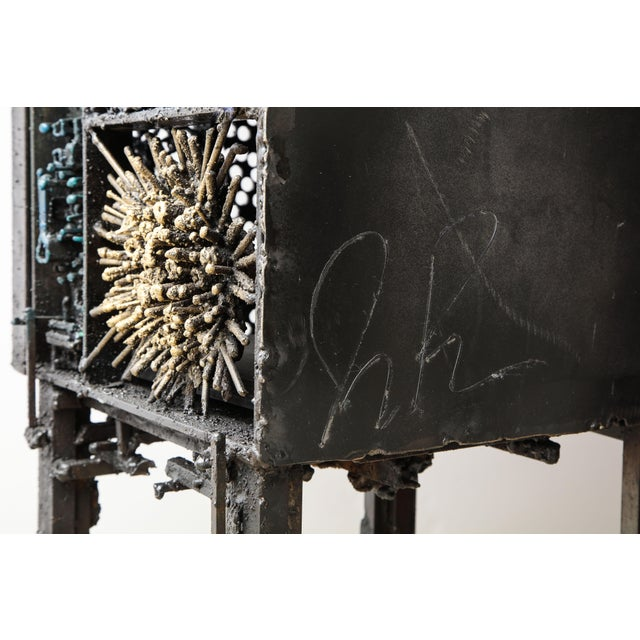 """James Bearden """"Segment Cabinet"""" in Polychromed and Bronzed Steel For Sale - Image 10 of 13"""