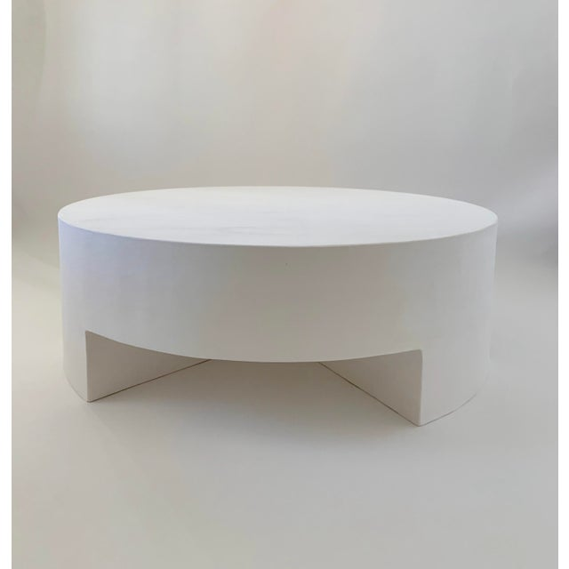 Reed Smooth Plaster Round Chunky Coffee Table For Sale - Image 10 of 10