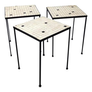 Nest of Three Salterini Style Wrought Iron With Glass Tile Tables For Sale