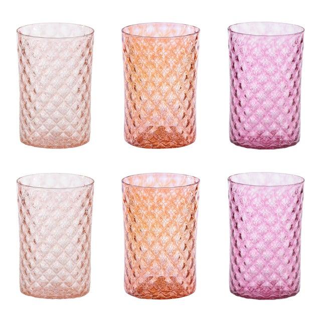 Mandala Drinking Glasses, Pinks and Orange - Set of 6 For Sale