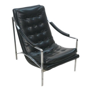 Mid-Century Modern Black Vinyl & Chrome Lounge Chair, Circa 1970
