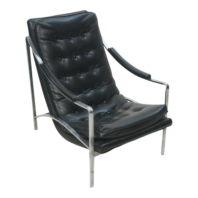 Mid-Century Modern Black Vinyl & Chrome Lounge Chair, Circa 1970 - Image 1 of 7