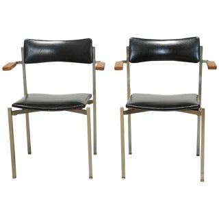 Pair of Mid-Century Steel Armchairs by Frederic Weinberg For Sale