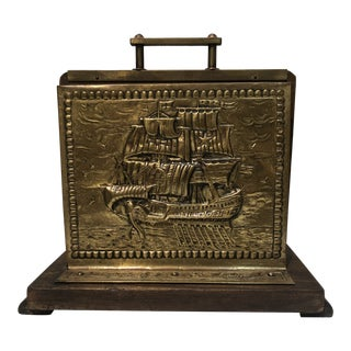 Vintage Nautical Brass and Wood Letter Holder For Sale