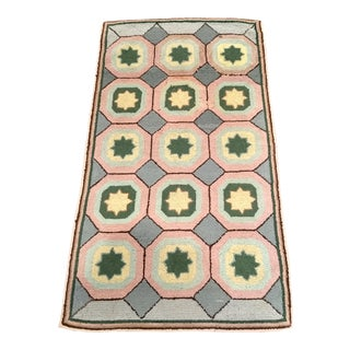 1910s Early American Geometric Design Pink and Gray Hooked Rug For Sale