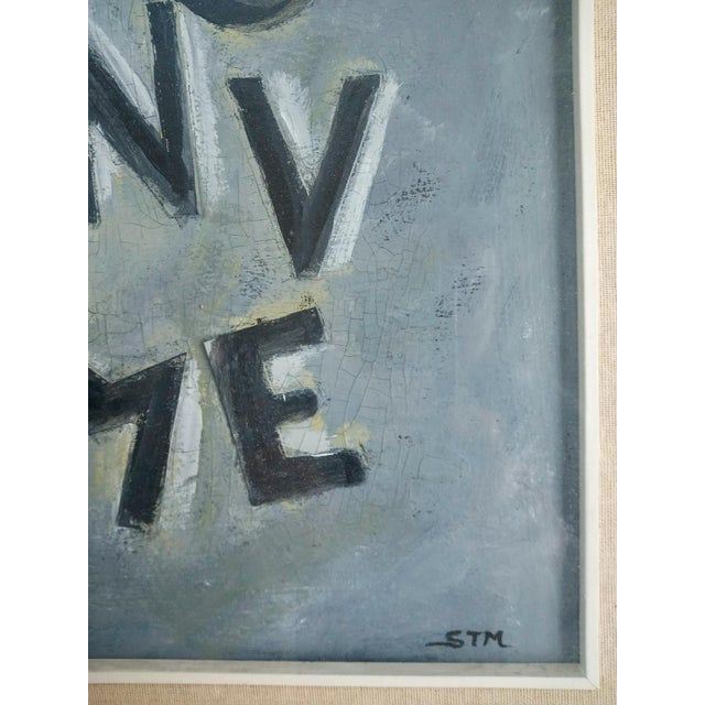 Abstract Mid 20th Century Text Oil Painting, Framed For Sale - Image 3 of 7