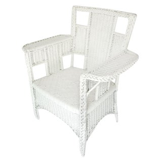 Square White Wicker Chair For Sale