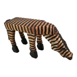 Vintage Carved Wooden Painted Zebra Table Stand For Sale