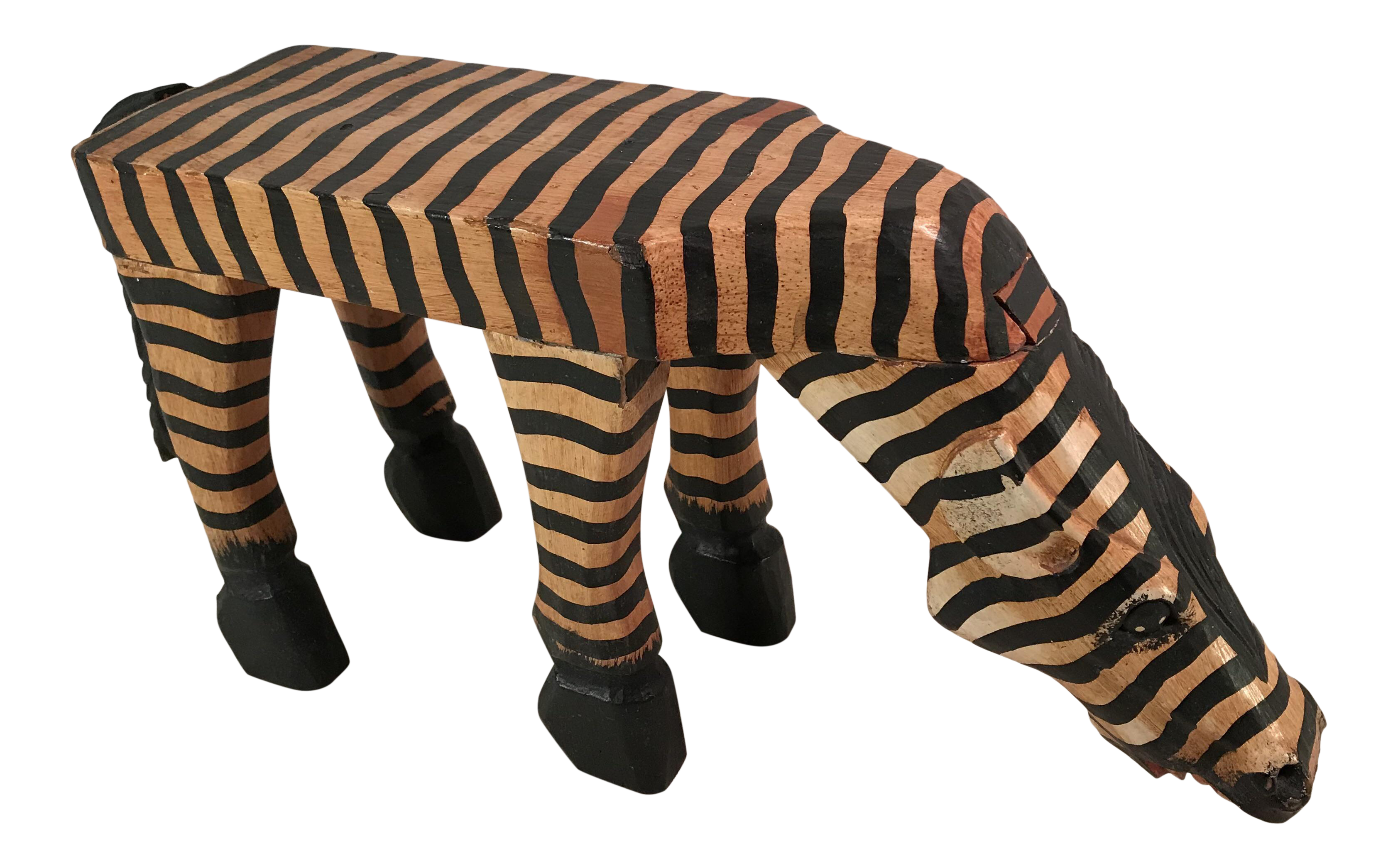 Vintage Carved Wooden Painted Zebra Table Stand