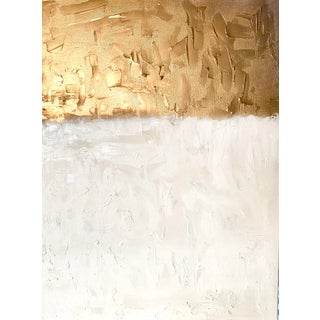 """""""Golden Time of Day"""" Contemporary Minimalist Gold Abstract Painting by Ebony Boyd For Sale"""