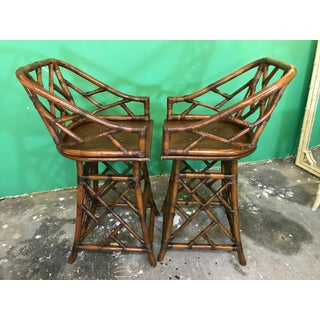 Vintage Mid Century Modern Island Style Rattan Chippendale Bar Stools-Pair Preview