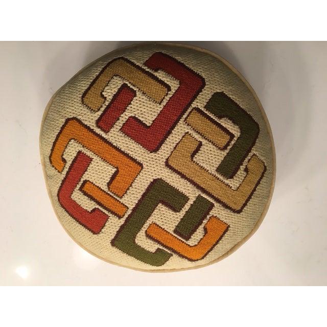 1970's Geometric Needlepoint Pillow - Image 3 of 4