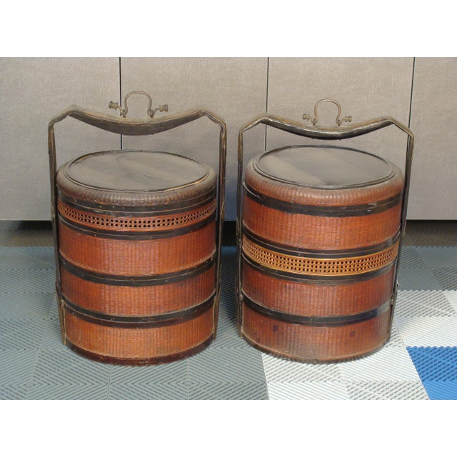 19th Century Chinese Bamboo Picnic Boxes- A Pair - Image 2 of 8