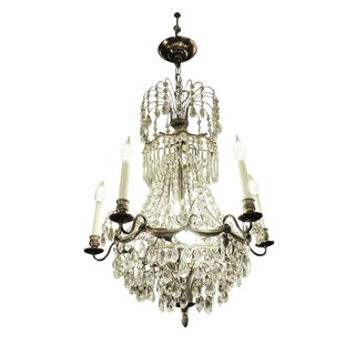 Empire Style Basket Crystal & Brass Chandelier For Sale