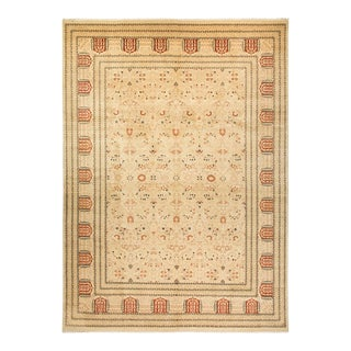 """Mogul, One-Of-A-Kind Hand-Knotted Area Rug - Ivory, 10' 2"""" X 13' 10"""" For Sale"""