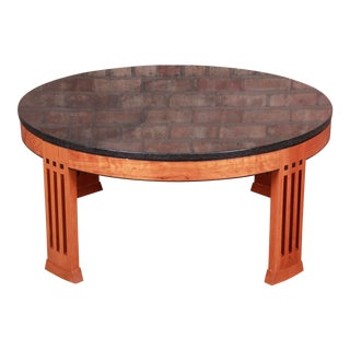 Stickley Arts & Crafts Cherry Wood Granite Top Coffee Table For Sale