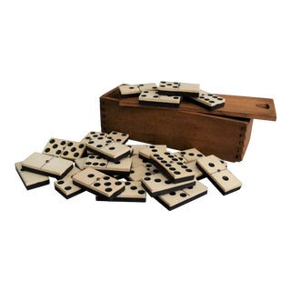 Antique English Boxed Set of Dominoes For Sale