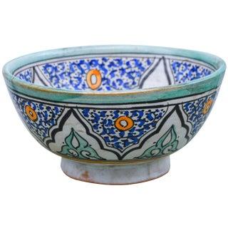 Polychrome Ceramic Bowl W/ Moorish Pattern For Sale