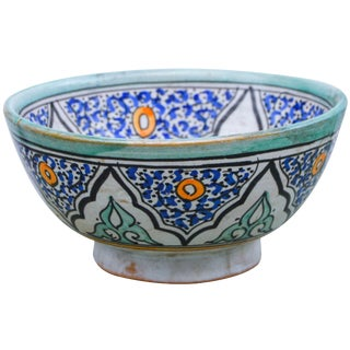 Polychrome Ceramic Bowl with Moorish Pattern For Sale