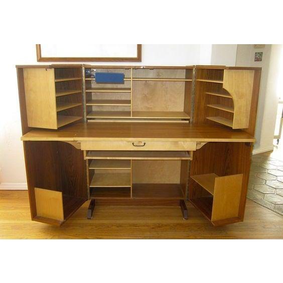 Danish Mid Century Modern Teak Fold-Out Desk For Sale - Image 4 of 4