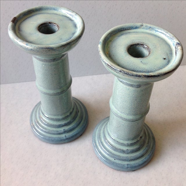 Sea Foam Pottery Candlesticks - A Pair For Sale - Image 5 of 11