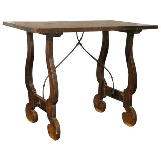 19th Century Italian Stretchered Table With Lyre Legs For Sale