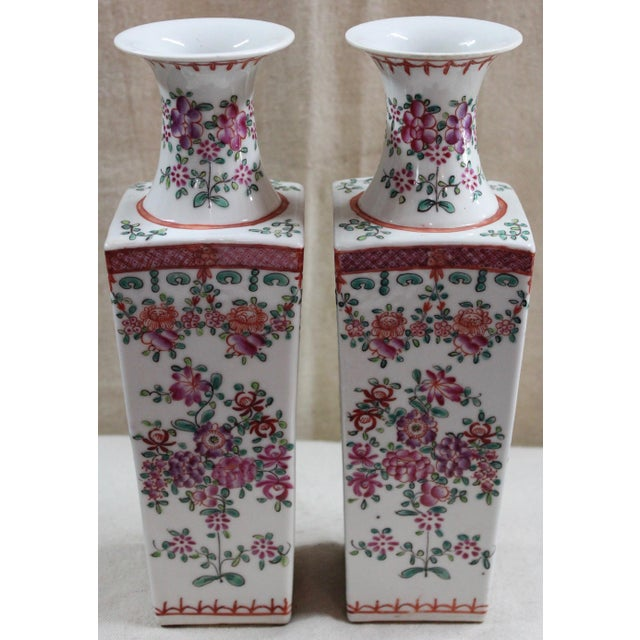 Chinese Famille Rose Vases - a Pair For Sale - Image 4 of 6