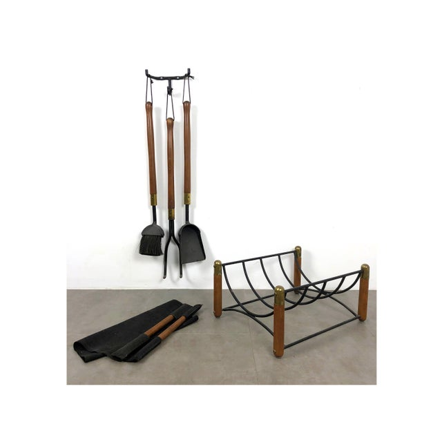 Modern fireplace accessory set by Seymour Manufacturing Co USA, circa 1960's. Wall mounted fireplace tool set with...