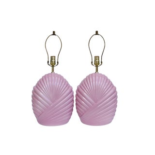 Pink Ceramic Table Lamps, a Pair For Sale