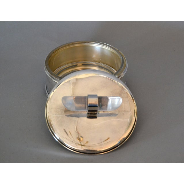 Apollo Woodwoking and Metal Corp Mid-Century Modern Silver Plate & Lucite Perfume Bottle & Powder Box 2 Pc. Vanity Set For Sale - Image 4 of 13