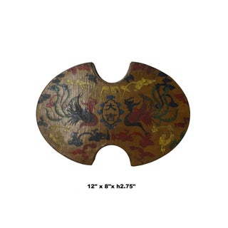 Chinese Distressed Yellow Lacquer Oval Phoenix Graphic Box Preview